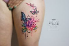 Rosen & Schmetterling - Aquarell Tattoo Source tattoo designs, tattoo, small tattoo, mean Tattoo Femeninos, Up Tattoos, Tattoo Fonts, Body Art Tattoos, Tattoos For Women, Flower Tattoos, Tiny Tattoo, Tattoo Quotes, Tattoo Moon