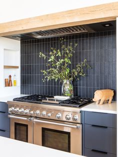 tiles Black here, our black matte lennox thin brick tile, from the liberty collection, elevates this kitchen backsplash with a vertical stacked installation. Rustic Kitchen, Kitchen Dining, Kitchen Decor, Soup Kitchen, Kitchen Colors, Dining Room, Black Kitchens, Home Kitchens, Black Ikea Kitchen