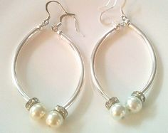 Wire Wrapped Pearl Earrings by GrecoGirlJewelry on Etsy