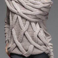 Endearing Slash Collar Solid Color Twist Wave Faux Scarf Pullover Sweater