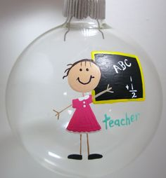 Teacher Christmas Ornament Handpainted Personalized Glass Ball. $10.00, via Etsy.