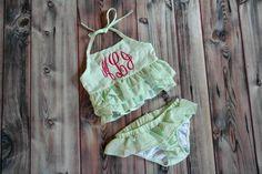 Green 2 piece personalized little girls bikini, swim suit, bathing suit, seersucker, monogrammed  https://www.etsy.com/listing/230035424/monogrammed-or-plain-little-girls-green
