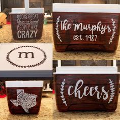 Custom Painted Wood Grain 9 QT Cooler by FivePointCo on Etsy