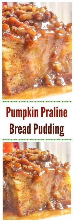 Pumpkin Praline Bread Pudding makes an easy yet awesome Fall or Thanksgiving pumpkin dessert. via Pumpkin Praline Bread Pudding makes an easy yet awesome Fall or Thanksgiving pumpkin dessert. Fun Holiday Desserts, Thanksgiving Desserts, Holiday Recipes, Holiday Foods, Thanksgiving Turkey, Dessert Bread, Dessert Recipes, Dinner Recipes, Pudding Flavors