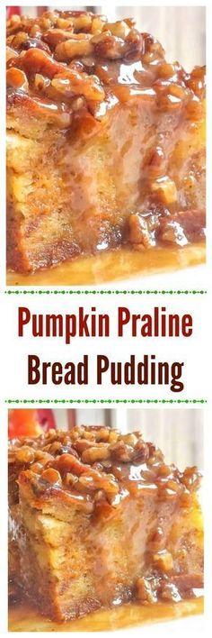 Pumpkin Praline Bread Pudding makes an easy yet awesome Fall or Thanksgiving pumpkin dessert. via Pumpkin Praline Bread Pudding makes an easy yet awesome Fall or Thanksgiving pumpkin dessert. Pumpkin Recipes, Fall Recipes, Sweet Recipes, Holiday Recipes, Holiday Foods, Pudding Flavors, Pudding Recipes, Just Desserts, Dessert Recipes