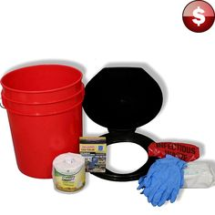 5 Gallon Emergency PORTABLE TOILET 4 Person Bucket Seat Chemicals Camping Kit