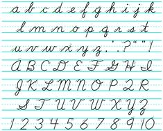 Learning the cursive alphabet is the best guide to cursive writing. Many people approach cursive writing as a way to be more creative and use handwriting in Teaching Cursive Writing, Learning Cursive, Cursive Handwriting Practice, Cursive Alphabet, Improve Your Handwriting, Handwriting Analysis, English Handwriting, How To Write Cursive, I In Cursive