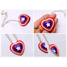GUO GUO'S - The Original Captain America Shield Pendant / BFF Heart... (66 BRL) ❤ liked on Polyvore featuring jewelry, necklaces, heart jewellery, heart pendant jewelry, pendant jewelry, heart pendant and pendant necklace