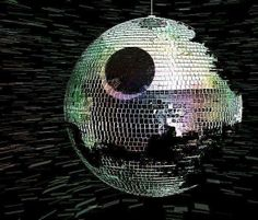 Death Star Disco Ball, Disco will never die, 80s, 70s, dance, do the hustle, Star Wars, fandom, geekery, mirror ball, floor, studio 54, Return of the Jedi, The Force be with you, spinning, let the music lift you up