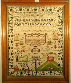 Reproduction - Mary Lee's sampler of 1810 which she worked aged 13.  needleprint.blogspot.com