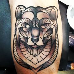 Geometric bear tattoo...