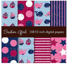 Girls Nautical Sailboat Whale Pink & Navy by LittlePrintsParties, $5.00