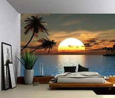 Tropical Sunset Ocean Palm Tree - Large Wall Mural, Self-adhesive Vinyl Wallpaper, Peel & Stick fabric wall decal