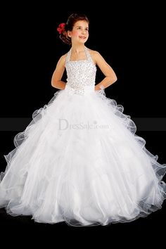 a91bdcc43 Classy Pure White Ball Gown Halter Flower Girl Dress, Quality Unique Flower  Girl Dresses