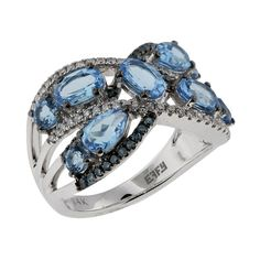 Effy Jewelry 14K White Gold Blue Topaz and Diamond Ring, 3.21 TCW (351070 RSD) ❤ liked on Polyvore featuring jewelry, rings, blue topaz, 14 karat gold jewelry, 14k white gold ring, white gold ring, 14k ring and white gold diamond jewelry