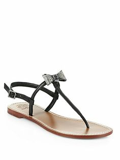 Tory Burch - Leather Jeweled Bow T-Strap Sandals - Saks.com