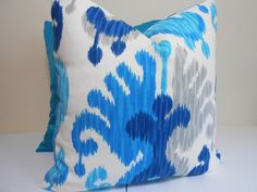 Blue Gray Ivory Pillow Outdoor Pillow Cover P by ZourraDesigns These look like the ones I had made!