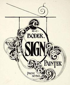 1937 Print Design Sign Cut Out Art Nouveau Scroll Typography Hang Frank Atkinson