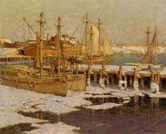 """Gloucester Harbor,"" Frederick J. Mulhaupt, oil on canvas, 25 x 30"", private collection."