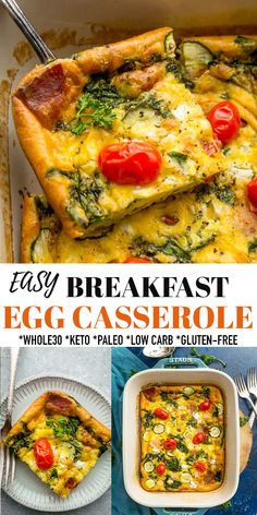 This Egg Casserole is an easy and delicious breakfast bake packed with spinach, zucchini, ham, & tomatoes. It's the perfect low carb, Whole30, paleo, vegetarian and keto-friendly and works great for meal prep, overnight guests, Mother's Day, Christmas, Easter or any holiday weekend brunch. Healthy, delicious and just 10 minutes of prep and simple to customize. #eggs #casserole #whole30 #keto #lowcarb #mealprep #brunch #holiday #glutenfree #paleo #vegetarian