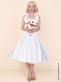 1950s Halterneck White Duchess Dress - from Vivien of Holloway UK