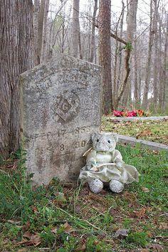 Bedraggled Angel Bear and Tombstone, R.J. Carter 1853-1904, High Shoals Baptist Church Cemetery, High Shoals, GA