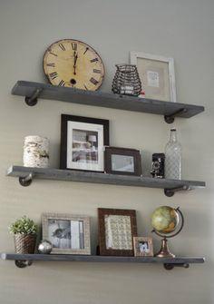 Loving What We Live: Photo Wall Display on DIY Restoration Hardware Shelves #traveldecor