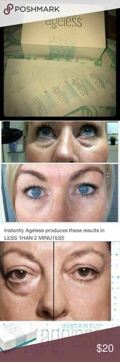 Instantly Ageless anti wrinkle cream 45 satchets VISIBLY DIMINISHES THE APPEARANCE OF FINE LINES AND WRINKLES. ERASES THE APPEARANCE OF DARK CIRCLES AND PUFFINESS UNDER THE EYES. MINIMIZES THE APPEARANCE OF PORES HELPS TO EVEN SKIN TEXTURE. MATTES SKIN FOR A FLAWLESS FINISH AND RESTORES SKIN TO OPTIMUM APPEARANCE. You get 45 satchets 1 satchet gives you 1-3 uses. simply ageless Makeup Concealer