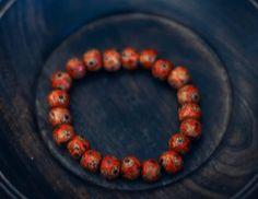 Red Patterned Wood Bracelet by WoodYouWear on Etsy, $5.00