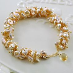 Freshwater Pearl Bridal Bracelet Keishi Keshi Cluster Peach Gold Wedding Jewelry - Champagne Bubbles - 270