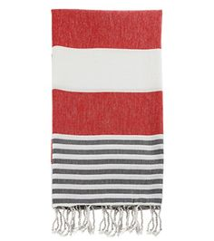 Swan Comfort 100% Cotton Pestemal Turkish Bath Towel, 39″ x 70″ – Red – Gray
