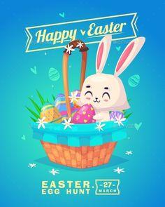 Set Of Easter Characters. Vector Cute Cartoons