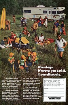1971 Winnebago Ad - 1970s Camping RV Motor Home Travel