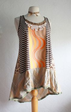 Plus Size Upcycled Long Top Women's Clothing by BrokenGhostCouture