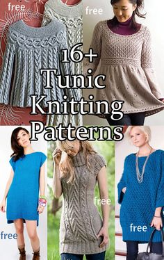 Tunic Knitting Patterns for pullover sweaters, many free patterns (note the middle bottom tunic is NOT free) at http://intheloopknitting.com/tunic-and-dress-knitting-patterns/ P