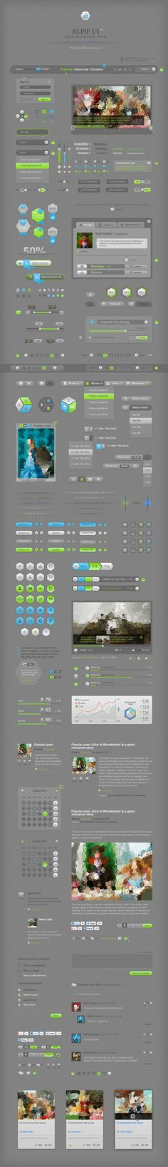 Alise UI / User Interface Pack by Vadim Pleshkov, via Behance