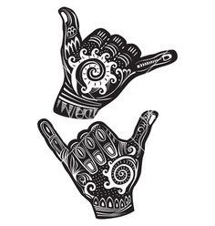 Clipart Black And White Hang Loose Shaka Hand And Hawaiian