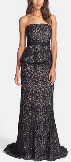 Scalloped Lace Strapless Peplum Gown by Adrianna Papell