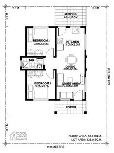 Tiny House Plan with 2 Bedrooms - Cool House Concepts Modern House Floor Plans, Narrow Lot House Plans, My House Plans, Family House Plans, Two Bedroom House Design, Tiny House 2 Bedroom, 2 Bedroom House Plans, Single Storey House Plans, One Storey House