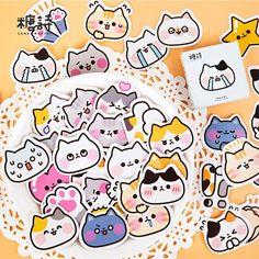 "/""Happy Cat/"" 45pcs Stickers Beautiful Cute Scrapbooking Craft DIY Decor Stickers"