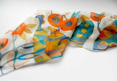 Abstract pomegranates scarf. Hand painted silk scarf  in