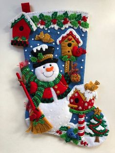 Bucilla Christmas Stocking Finished, Christmas Stocking Personalized Completed Snowman With Birds Gift Boy Girl Bird Houses Christmas Stocking Kits, Felt Christmas Stockings, Felt Stocking, What Is Christmas, Christmas Wood, Christmas Crafts, Christmas Ornaments, Christmas Goodies, Outdoor Christmas Decorations