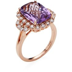 Danni Amethyst & Diamond Rectangle Ring ($1,795) ❤ liked on Polyvore