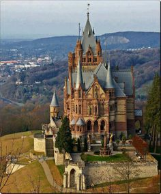 Dragon Castle or Schloss Drachenburg is a private villa built in the century. The castle is built on Drachenfels hill in Königswinter, town in Germany on the river Rhine River, near the city of Bonn Places Around The World, Oh The Places You'll Go, Places To Travel, Places To Visit, Around The Worlds, Travel Things, Travel Stuff, Beautiful Castles, Beautiful Buildings