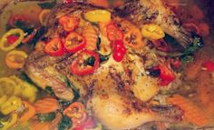 I made yummy whole #organic non steroid chicken...topped with peppers and carrots. #nohormones #cleaneating #healthy