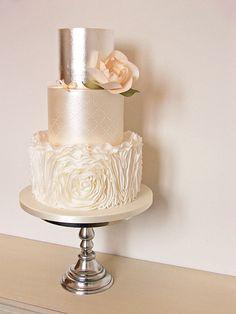 Peach rosette ruffle wedding cake – Famous Last Words Metallic Wedding Cakes, Floral Wedding Cakes, Wedding Cake Rustic, White Wedding Cakes, Elegant Wedding Cakes, Wedding Topper, Wedding Cake Designs, Wedding Favors, Wedding Shoes