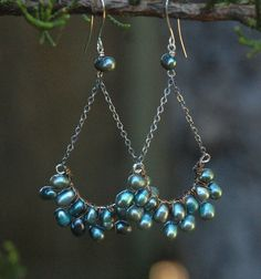 Aqua Pearl Earrings, Artisan handmade, natural pearl, freshwater pearl. $49.00, via Etsy.