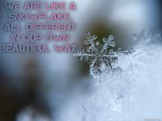 We are like a snowflake, all different in our own beautiful way. -  We all have similarities but our differences help define us. We have unique beauty in our inner & outer selves which isn't always easy to see until we take a closer look... just like snowflakes. The different journeys that we take in life create our individuality... just like snowflakes. We are independent individuals but often stick together... just like snowflakes.