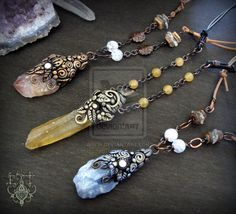 Calcite necklace by EnchantedTokenArt.deviantart.com on @deviantART