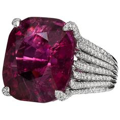 Rubellite Tourmaline and Diamond Ring by Henry Dunay | From a unique collection of vintage cocktail rings at https://www.1stdibs.com/jewelry/rings/cocktail-rings/